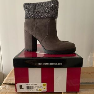 Grey suede cute ankle boots by circus size 6.5